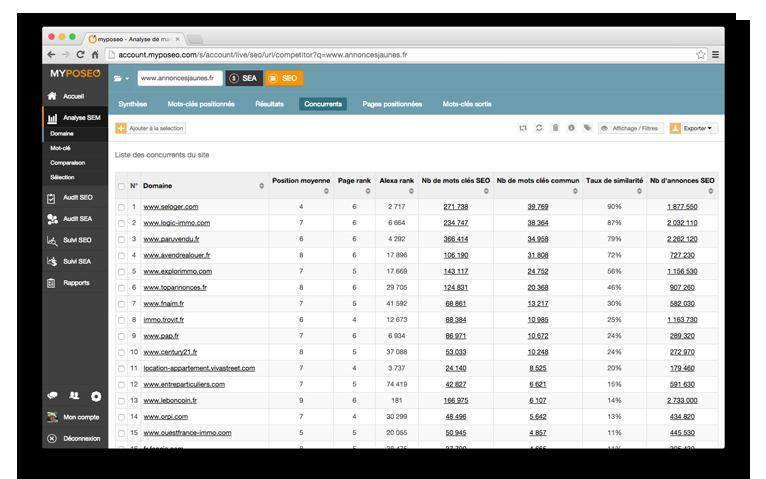 Domaines positionnés dans un audit SEO