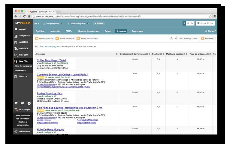 Annonces AdWords collectées dans Google par myposeo