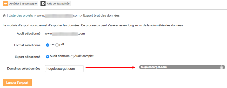 configuration export audit SEO domaine